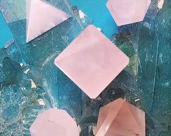 5 Piece ROSE QUARTZ Crystal Platonic Solids Crystal SET, Sacred Geometry, Reiki Set With Velvet Pouch