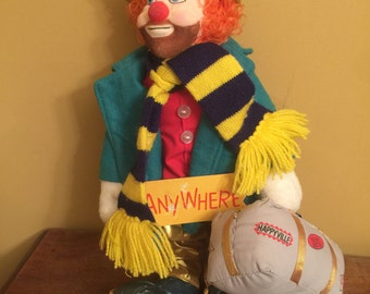 Hand Signed Ron Lee Plush Clown/Vintage Ron Lee Clown/Ron Lee Anywhere Clown