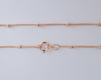 Rose Gold Filled Chain, Saturn Curb Chain, 14K Rose Gold Filled, Finished Chain, 18 inch, 1.9mm Ball, Fast Shipping from USA