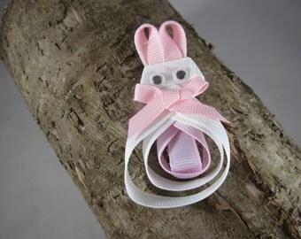 NEW bunny Easter ribbon art hair clip