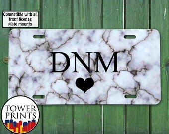 Gray Marble Veins Rock Texture Black Monogram Heart Initial Tumblr Inspired Cute Custom Accessory Front License Plate Car Tag Vehicle Custom