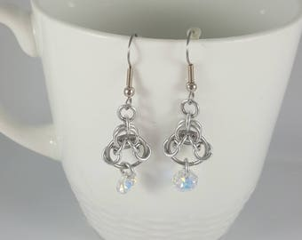 Chainmaille and Swarovski Dangle Earrings