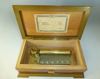 Vintage Swiss Reuge Music Box 72 Key Plays Anniversary Song & More Songs Beautiful Inlay Wooden Case (See The Video)