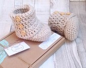 Unisex ugg booties crocheted boots gender neutral booties photo prop baby shower newborn 0-3 3-6 stone beige boots baby shoes gift present
