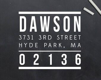 Modern Square Return Address Stamp, Custom Address Stamp, Personalized Address Stamp – Self Inking or Wood Mount  (S042)
