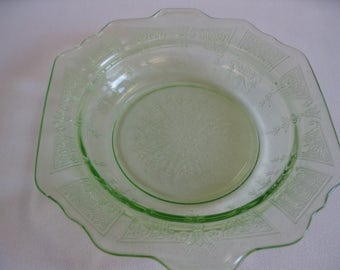 Hocking Glass Green Princess Butter Dish Bottom Made in USA