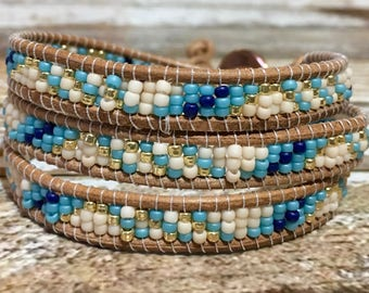 Bracelet Leather Wrap Bracelet Blue Triple Wrap Gold Bohemian Bracelet Boho Jewelry