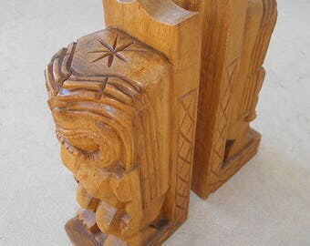 Primitive Hand Carved Bookends