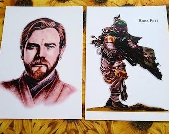Star Wars, Boba Fett e Obi Wan Kenobi, Stampa A4