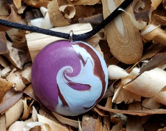 Polymer clay purple waves necklace