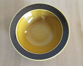 Lovely Harmony House Aurora Ironstone salad / cereal / soup bowl in mustard gold with brown polka dot rim for Boho or Farmhouse kitchen!