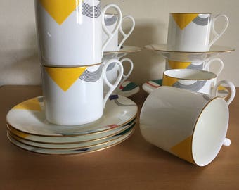 Pristine Daniel Hechter Metrix coffee cups & saucers - set of 8 in red green yellow purple black modern geometric design with gold rims!