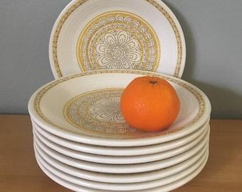 Sweet vintage set of 8 Franciscan Earthenware Hacienda Gold earthenware dessert plates - tropical cream & yellow floral design Aztec rim!