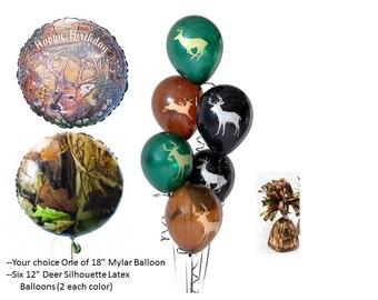Deer Birthday or Camo Mylar with Deer Latex Balloons