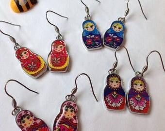 Russian Doll Earrings Matryoshka Earrings Babushka Jewellery Pink Russian Doll Red Russian Doll Blue Russian Doll Folk Doll Jewellery