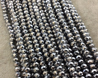 """4mm x 6mm Iridescent Metallic Finish Faceted Opaque Silver Chinese Crystal Rondelle Beads - 17"""" Strand (Approx. 94 Beads) - (CC46-103)"""