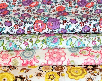 Set of 4 cotton floral fabrics, yellow, green, pink, purple, 20 * 24 cm