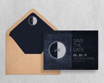 Moon and Stars Save the Date Wedding Stationary
