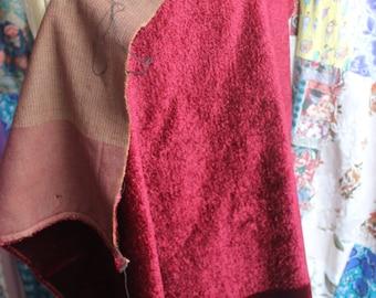 Dark red velour fabric REF 462