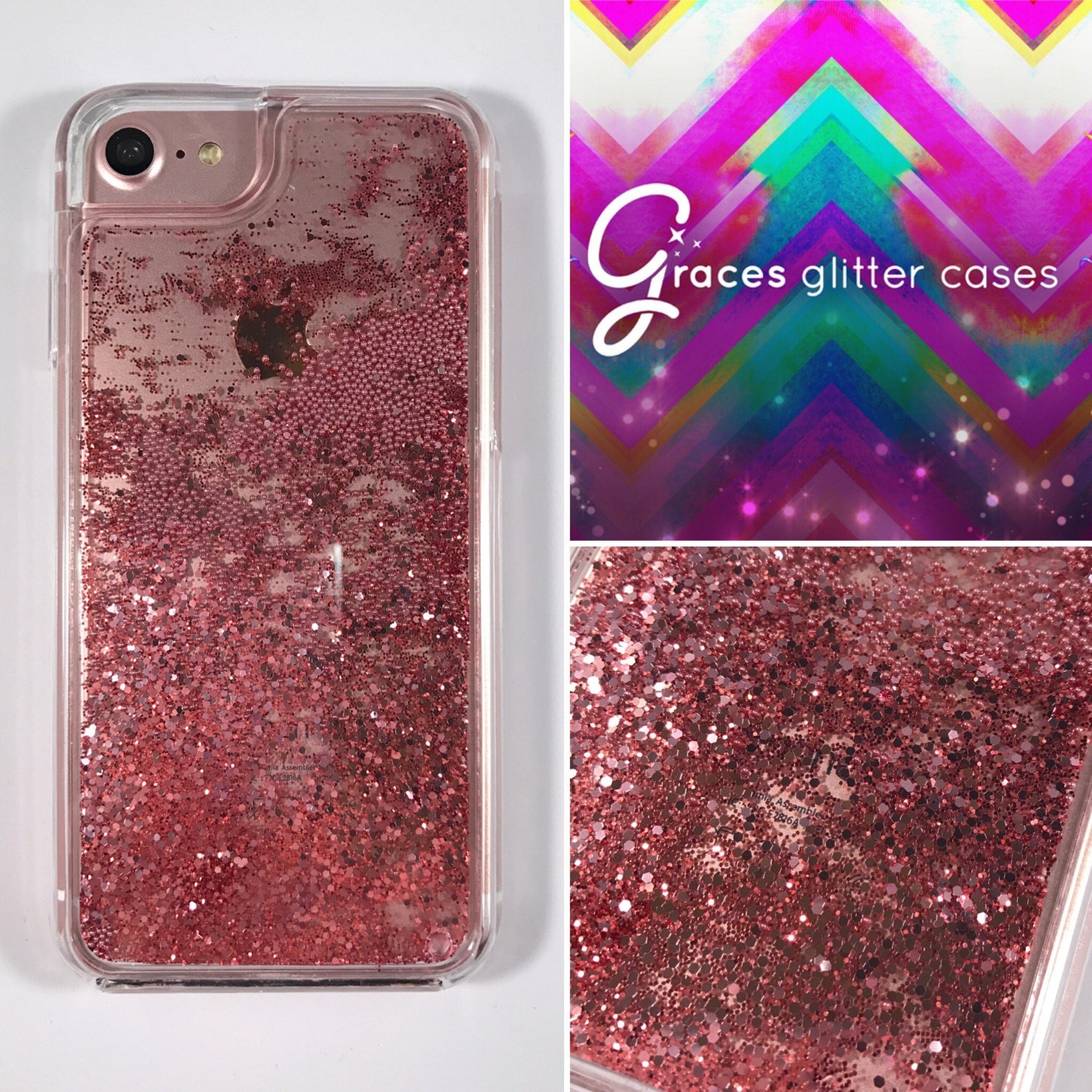 rose gold two peice holographic liquid moving glitter