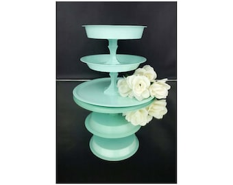 3 Tier Stand Cupcake Plate Cake Stand Metal Mint Wedding Decor Appetizers  Finger Foods Dessert Table