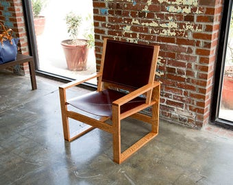 Chair, Wooden Chair, Wooden Frame Leather Chair, Wooden Chair with Leather, Lounge  Chair, Leather Armchair