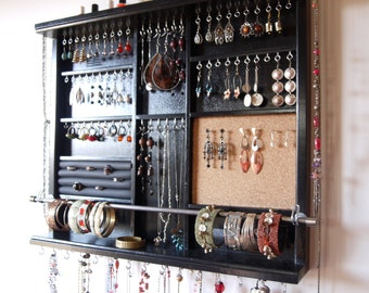 Jewelry holder. Large earrings display shelf. jewelry storage. wall mounted earring holder. Black jewelry organizer. earrings storage.