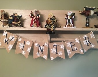 Winter banner, Photo prop, Winter decoration, burlap banner, burlap bunting, Winter garland