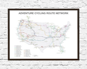 Bike Art, Cycling Gift, Bicycle Art, Bicycle Wall Art, Cycling Route Map, Adventure Cycling, Bicycle Routes, Cycling Art, Explorer
