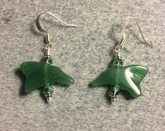 Green adventurine gemstone hummingbird bead earrings adorned with green Chinese crystal beads.