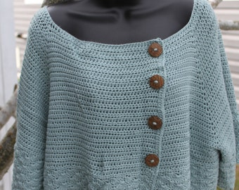 Handmade of softest bamboo cotton yarn. Size L cropped sweater with intricate detail design; Light seafoam green (sage) color. Beautiful!