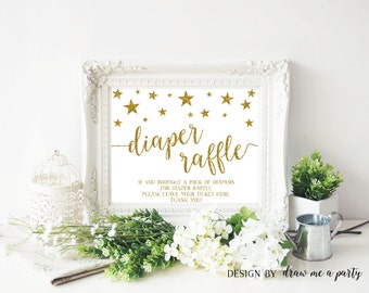 Twinkle Twinkle Little Star Baby Shower Decorations , Diaper Raffle Sign , Diaper Raffle Printable Sign , Twinkle Baby Shower Sign DIY
