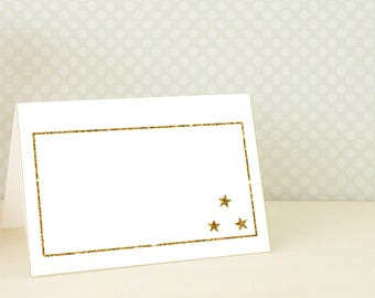 Twinkle Little Star Tent Cards , Gold Stars Table Tent , Twinkle Twinkle Little Star Buffet Label , Printable