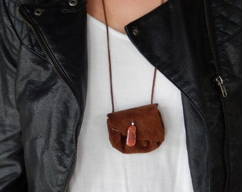 Brown Suede Pouch Necklace   Medicine Bag   Drawstring Pouch Necklace   Brown Suede Jewelry  Handmade with Agate Embellishment