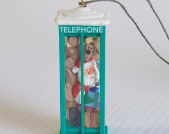 Vintage 1993 Hallmark Keepsake Reindeer and Santa Claus in a Telephone Booth  Christmas ornament - Room for One More