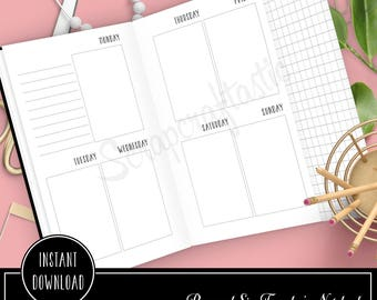 Week On Two Pages Personal Size with Grid Tip-In Traveler's Notebook Printable Planner Inserts Undated