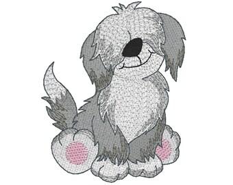 Old English Sheepdog Embroidery Design, Sheepdog Puppy, Dog Machine Embroidery Design no: SA512-1