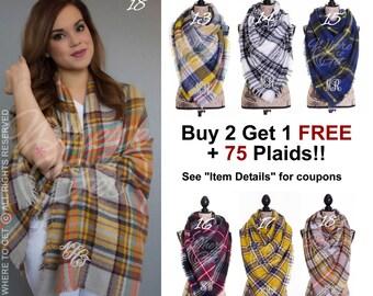 Blanket Scarf, gift for her, christmas gift, blanket scarf monogram, blanket scarf plaid, fall ...