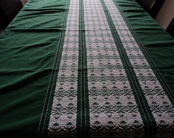 REDUCED - French vintage green and white large cotton table cloth  (03550)