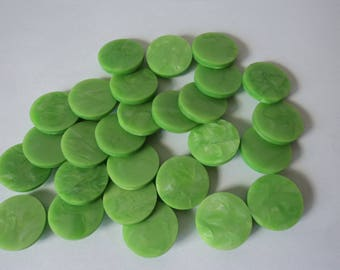 REDUCED - French vintage set of 27 large green buttons (04633)