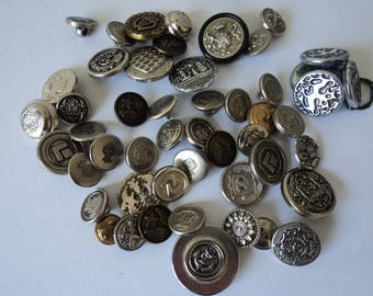 French vintage set of 50 silver coloured assorted craft buttons (04696)