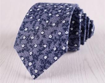 blue floral ties.flower printed neck ties.standard ties.vintage cotton ties.mens casual necktie.wedding party ties.designer necktie+nt.140s