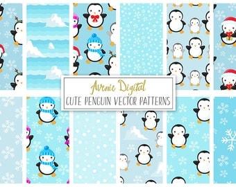 Penguins Digital Paper. Scrapbook Backgrounds, Cute arctic ice seamless vector patterns, snowflake, snow, iceberg.