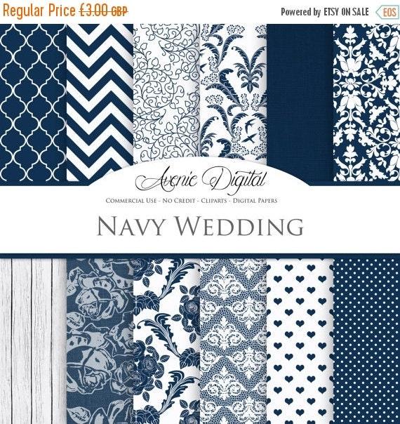 Sale navy wedding digital paper scrapbooking by aveniedigital for Wedding invitation paper for sale