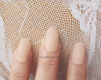 beige powder oval nails mat matt matte almond wedding bride lolita nails chic selfie fashion nude false nails party acrylic lasoffittadiste