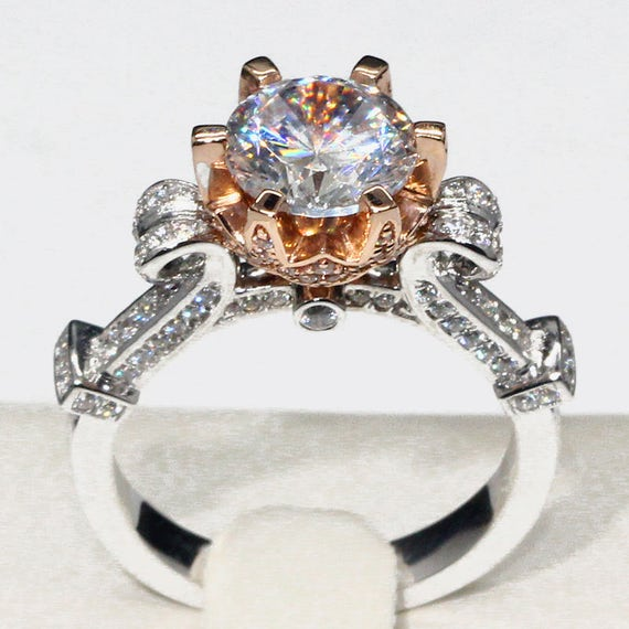 Fairy Tales Wedding Ring Sets: 14k Gold 1.5 Carat Diamond Cinderella Pumpkin Carriage Fairy