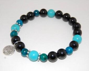 Tree of Life Bracelet,Turquoise,Stone 10mm Beads Elastic Bracelet Fit,Man,Woman,Stretch Bracelet, Men,Tree of Life,Gift