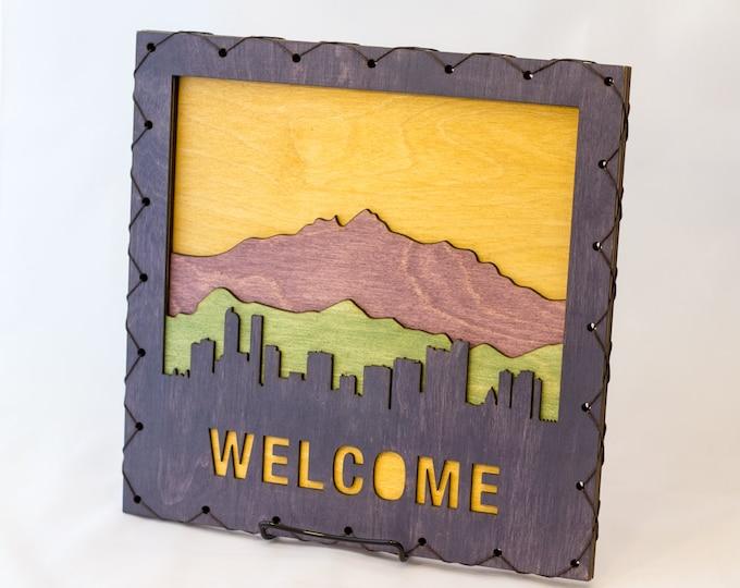 Welcome Sign - Denver Art - Denver Wall Hanging - Denver Decor - Colorado Home Decor -  Colorado Decor - Denver Decorating Idea