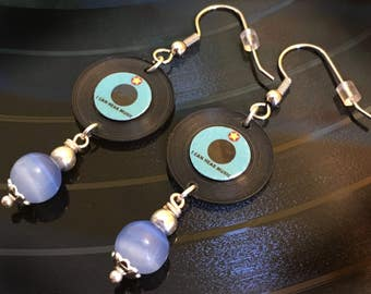 """Handcrafted Miniature """"I Can hear Music"""" Vinyl Record Earrings Blue/Blue"""