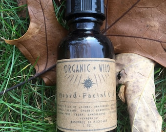 Beard + Facial Oil | Serum | Organic + All-Natural | Jojoba Pine Cedar Sandalwood